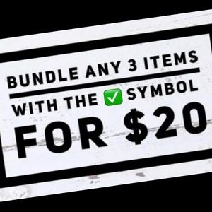 SALE 3 items with the ✅ symbol is $20
